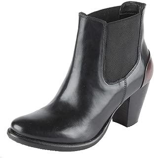 Salt N Pepper Marsha Black Leather Women Clog Ankle Boots
