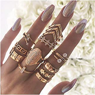 Fstrend Gold Rings Set Vintage Crystal Multi Size Knuckle Joint Finger Rings Sets Retro Carving Flower Stackable Midi Ring...