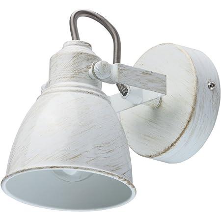 MW-Light 547020901 Spot Mural Orientable Style Industriel Vintage en Métal Blanc Doré pour Chambre Salle de Bain Couloir Cuisine 1x40W E14