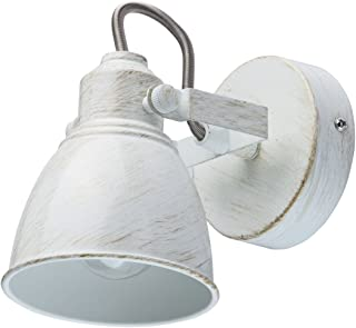 MW-Light 547020901 Spot Mural Orientable Style Industriel Vintage en Métal Blanc Doré pour Chambre Salle de Bain Couloir C...