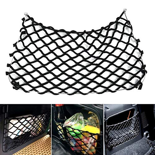Romdink Kofferraum-Organizer Gepäckraum-Netztasche für den hinteren Rücksitz,Anti-Korrosions-Mesh-Net Hängematte Cargo Truck Organizer (Black)
