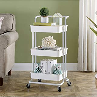 3-Tier Utility Trolley Cart Rolling Storage Shelves with Mesh Basket and Wheels Easy Assembly for Bathroom, Kitchen, Living Room (White)