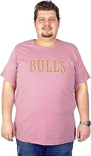 Mode XL Büyük Beden T-Shirt Bs. Yaka Baskılı Bulls 19104 Eflatun
