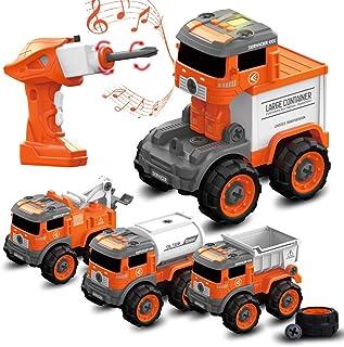 BerrysParadise Juguetes de construcción 4 en 1 Set de juguetes con taladro eléctrico Control remoto Camión Juguetes con luz de sonido para niños y niñas