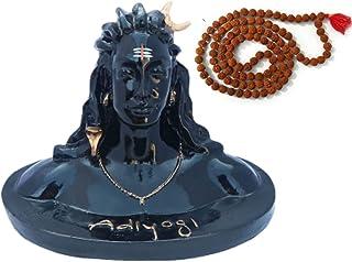STLYZ Polyresin Lord Adiyogi Shiva Mahadev Statue with Rudraksh Mala ( Black )