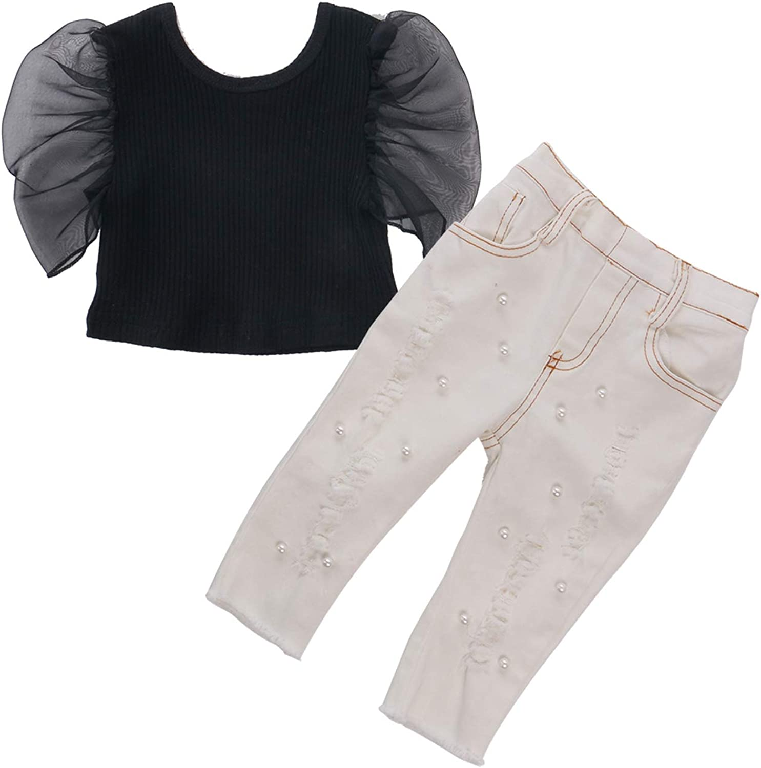 2pcs Puff Lace Short Sleeve Blouse Crop Tops + Pearls Holes Denim Long Pants Todder Kids Baby Clothing