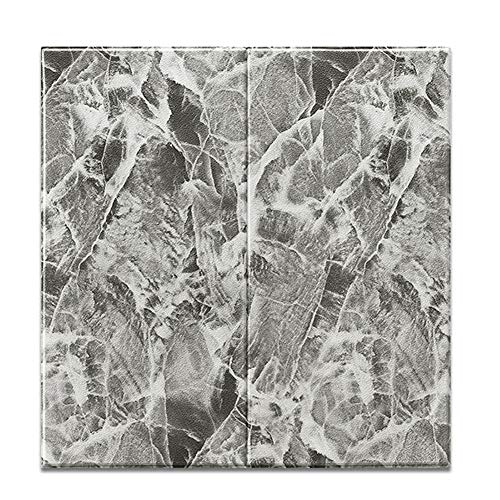 CAOXN Marmor 3D PE Schaum Wandpaneele Tapete 10 Stück, DIY Selbstklebende wasserdichte Anti-Kollisions-Wanddekoration Aufkleber,Grau