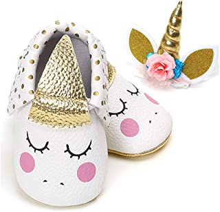 BubbleColor Baby Premium Soft Sole Infant Toddler Prewalker Anti-Slip Party Dress Crib Shoes with Free Baby Unicorn Headband