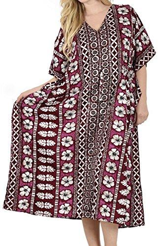 LA LEELA Mujeres caftán túnica Impreso Kimono Libre tamaño Largo Maxi Vestido de Fiesta para Loungewear Vacaciones Ropa de Dormir Playa Todos los días Cubrir Vestidos Blood Rojo_M540