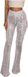 Leggings da donna svasati con paillettes glitterate a vita alta, pantaloni a campana, pantaloni da donna con coulisse
