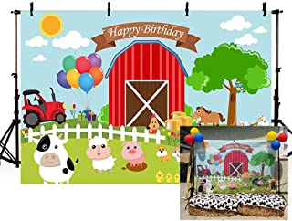 MEHOFOTO Cartoon Farm Theme Barn Domestic Animals Rustic Happy Birthday Banner Photo Background Child Party Decoration Banner Backdrops for Photography 7x5ft