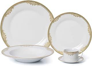Royalty Porcelain Vintage Gold Pattern 20-pc 'Rococo Gold' Dinner Set for 4, Premium Bone China