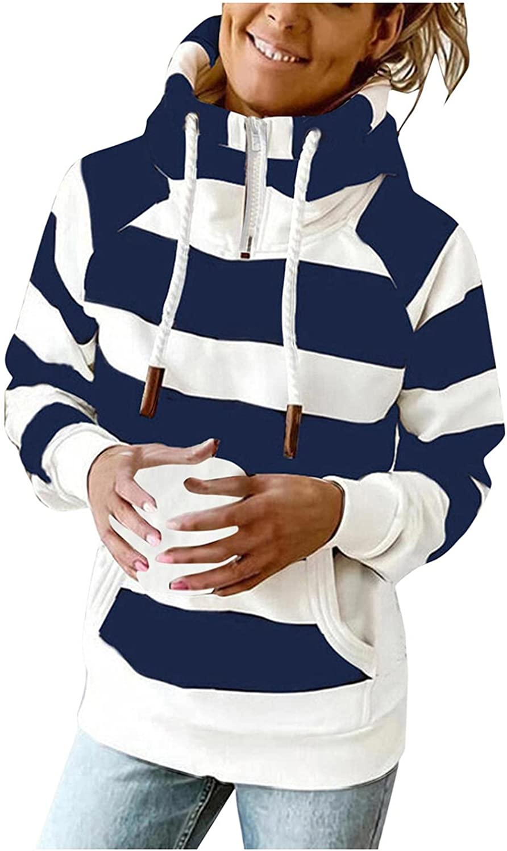 Gibobby Hooded Sweatshirts for Women 1/4 Zipper Drawstring Pullover Turtle Neck Button Pocket Long Sleeve Stripe Hoodies