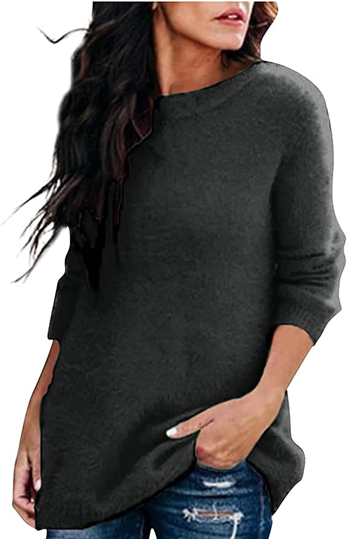 Womens Pullover Flannel Fleece Fluffy Crewneck Long Sleeve Fashion Sweatshirt Tops Swing Hem Plain Jumper