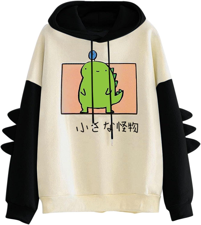 Women's/Girl's Cute Dinosaur Hoodie Pullover Hooded Sweatshirt Cute Cartoon Hoodies Teens Girls Blouse Tops