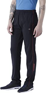 Men's Navy Polyester Cotton Track Pant with Secure Zipper Side Pockets