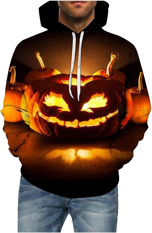 Aayomet Hoodies for Men Halloween Evil Printed Long Sleeve Hoodies Shirts Casual Sweaters Tee Shirts Tops