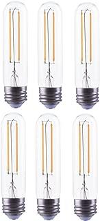 Bioluz LED T10 Dimmable LED Filament Bulb 4 Watt 40 Watt Replacement 450 lumens Soft White 3000K, UL Listed