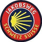 Club of Heroes 2 x Jakobsweg Schweiz gewebt 57 mm/Schweizer Aufnäher Aufbügler Flicken Sticker Patch/Wanderkarte Jakobs-Muschel Pilgerweg Camino Pilgern Reiseführer Wanderführer Buch