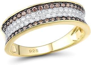 Santuzza 925 纯银白褐色 CZ 戒指 女士镀黄金