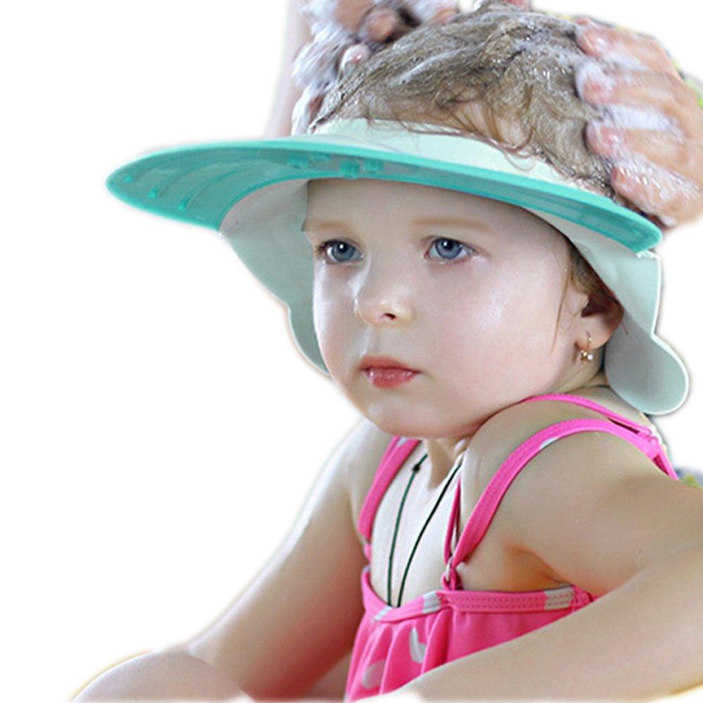 Baby Shower Cap Bath Wash Shampoo Visor Adjustable Bathing tub Head Hair Rinser hat Protection Kid and Toddler (Blue)