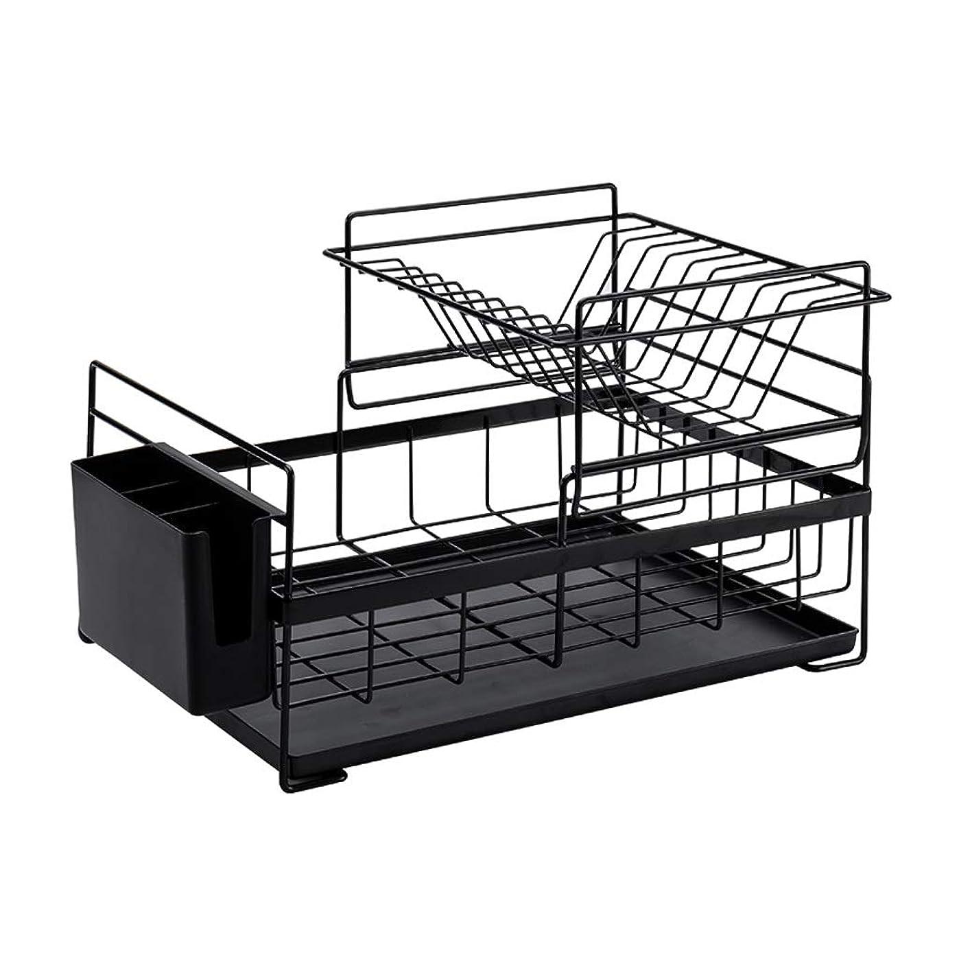 講義ファントム狂人IUYWL 家庭用キッチン二重皿食器棚?流し台食器箸収納収納棚41.5×26.8cm (Color : Black)
