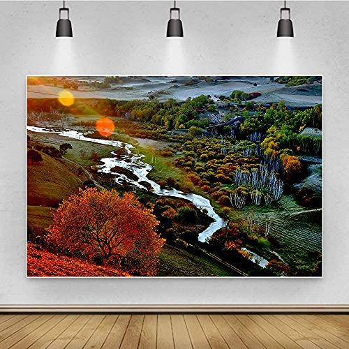 SGJFZD Fondo de Fotos Digitales Hojas de otoño de Hojas de otoño...