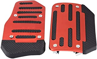 Cuque Brake Pedal Cover 2 Pcs Non-Slip Accelerator Pad Alloy Nonslip Accelerator Pad Cover Abs Aluminum Alloy Material Red Blue Silver Car Automatic Vehicle Universal(Red)