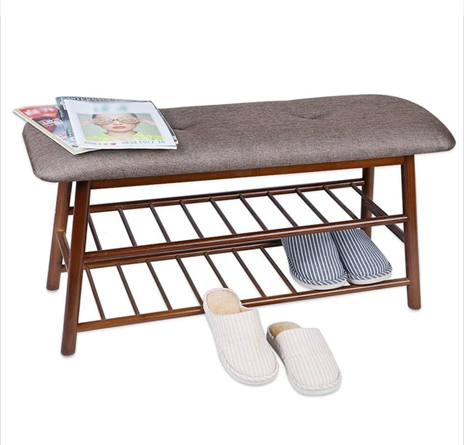 Feifei shoes Stool Nordic Minimalist Modern Bedroom Can Sit shoes Cabinet Bed Solid Wood Storage Bench Door shoes Bench (color   01, Size   90  30  35cm)
