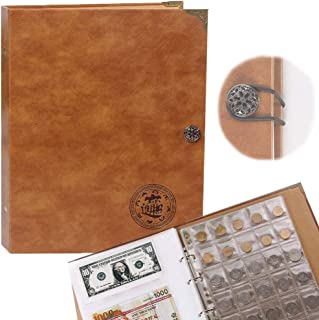Leather Coins Storage Collection Holder Album with 150 Pockets Coins and 240 Pockets Paper Money Large Coins Supplies Hold...
