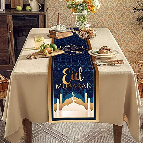 QICIG Eid Mubarak Table Runner Golden Star Moon Lantern Ramadan Decorations for Table Ramadan Decoration 13x70 inches