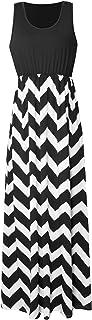 Yidarton Womens Wave Striped Summer Beach Dress Party Long Maxi Dresses