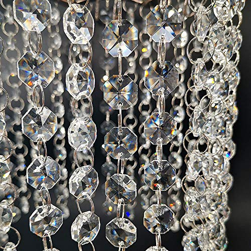 16.5Feet Beaded Trim Clear Crystal Beads Garland Chandelier Octagon Clear Glass Crystal Chandelier Beads Chain (5 Pack)