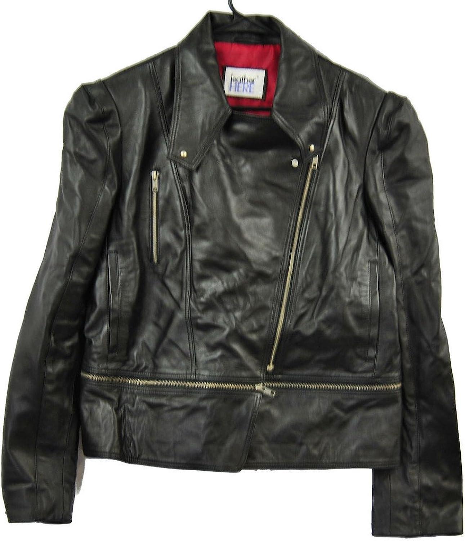 Fadcloset Black Womens Biker Jacket Real Leather