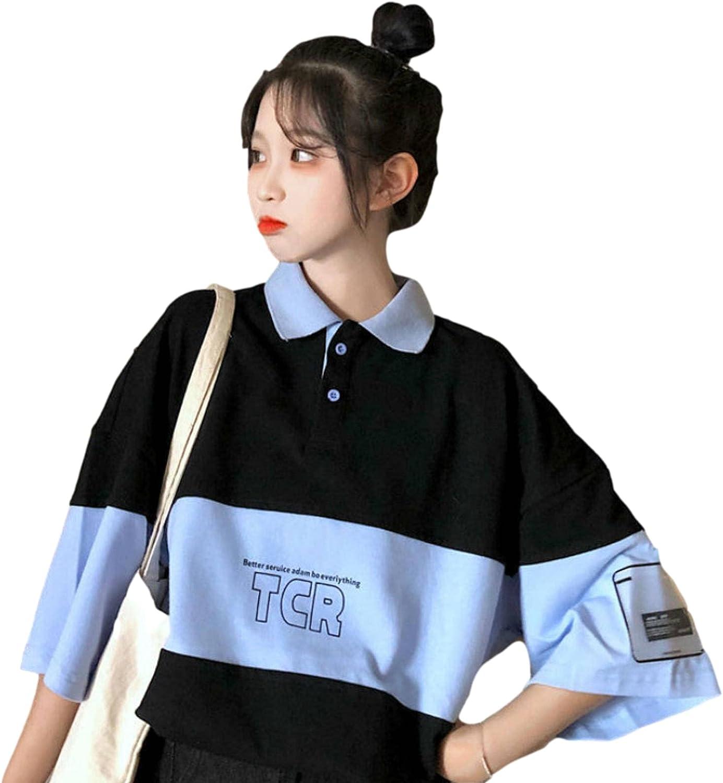 LZZSWDT Y2K College Women's Polo Shirt Short Sleeve Harajuku Oversized Loose T-Shirt