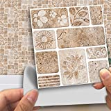 Tile Sticker for Kitchen & Bathroom Waterproof Anti-Mold Backsplash Tile Sticker 4x4 Inch Stone Pattern Tile Decals for Walls Stairs Deacoration 18PCS