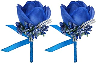 Febou Boutonniere 2PCS Wedding Boutonniere Handmade Rose Boutonniere Corsage with Pin and Clip for Groom Bridegroom Groomsman Perfect for Wedding, Prom, Party (2 Packs, Boutonniere-Royal Blue)
