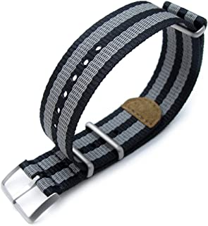 MiLTAT 20mm G10 NATO 3M Glow-in-The-Dark Watch Strap, Brushed, Black and Grey Stripes