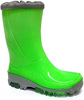 Kids Boys Girls Wellington Boots Rainy Snow Wellies Fluo