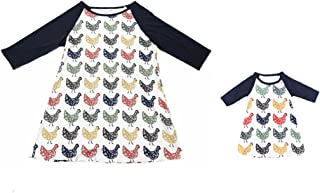 Mommy and Me Dresses Chicken Printed Raglan Dress