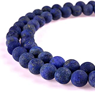 PLTbeads Gorgeous Lapis Lazuli Natural Gemstone Loose Beads 6mm Matte Round Approxi 15.5 inch DIY Bracelet Necklace for Jewelry Making