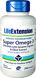 Life Extension Super Omega-3 (Fish Oil) EPA/DHA with Sesame Lignans and Olive Extract, 240 Easy-to-Swallow Softgels