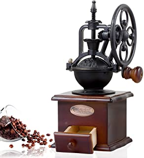 Vintage Style Manual Hand Coffee Bean Grinder Mill, Cast Iron Hand Crank, Ceramic Core, Adjustable Grinder, Make Fresh Coffee For Coffee Enthusiasts By UnderReef (Dark Brow)