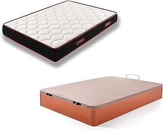 comprar comparacion HOGAR24 ES Conjunto Canapé Abatible de Madera Color Cerezo + Colchón Viscoelástico Memory Fresh 3D, 135x190cm