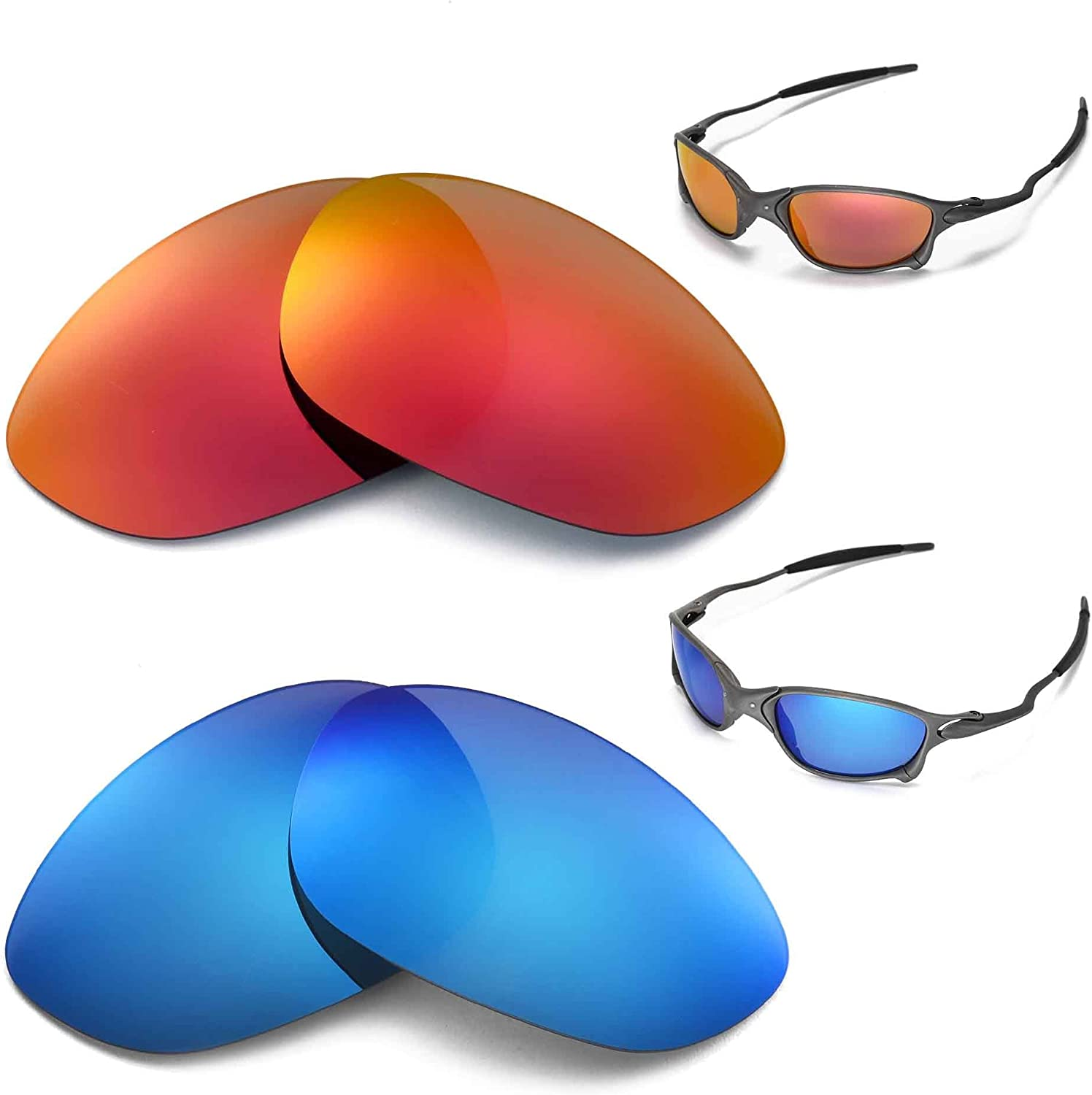 New Walleva Max 41% OFF Polarized Fire Red + Ice Blue For Lenses X 2021 Oakley Me