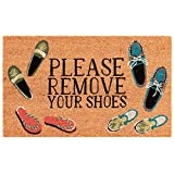 Liora Manne NTR12222412 Natura Summer Coastal Please Remove Your Shoes Natural Outdoor Welcome Coir Door Mat, 1'6' x 2'6'