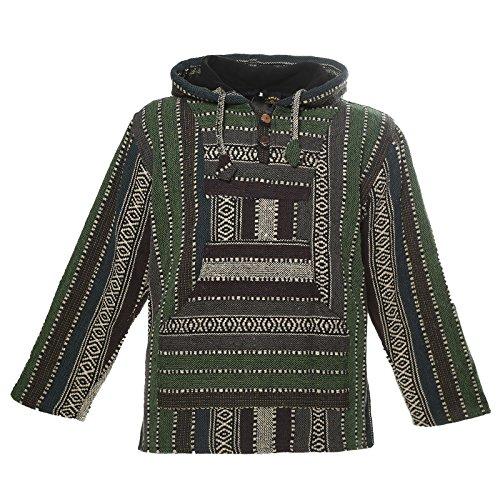 KUNST UND MAGIE Nepal Baja Jerga Sweatshirt Poncho mit Fleecefutter Kapuze, Größe:XL, Farbe:Army Green