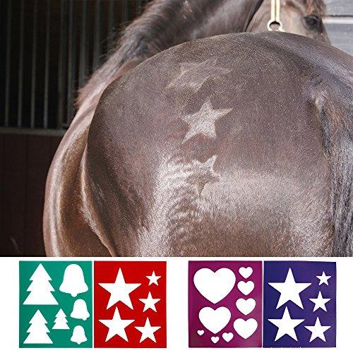 netproshop Fellschablone für Pferde zum Aufbürsten von Mustern, Schablone 2er Set Auswahl, Groesse:Motiv 2