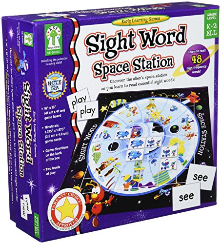 Key Education Sight Word Space Station Board Game—Kindergarten-2nd Grade, Sight Words Reading Memory Game With 2 Level Word Lists, Up to 8 Players (97 pc)