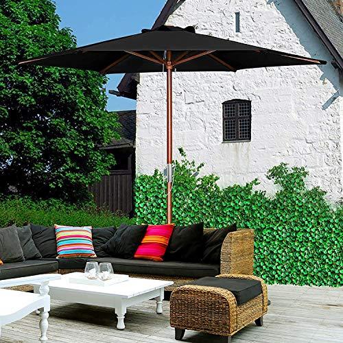 CHLDDHC Sombrilla de jardín - Parasol Grande de Lona Acanalada 6 con Poste de Madera - Compacto para pequeños Espacios de Patio al Aire Libre para terraza de Playa Verde
